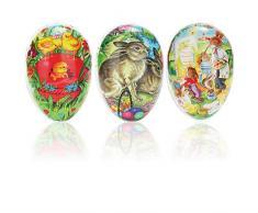 com-four® 3X Uovo di Pasqua da riempire - Uova Colorate da riempire per Pasqua - Uova di Pasqua con Molti Motivi pasquali da Regalare [la Selezione Varia] (3 Pezzi - colorato - 6 Motivi)