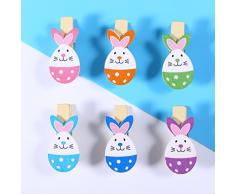LUOEM 10 Mini Mollette di Legno Colorate Mollette Portafoto Clip con 2m Corda Juta Addobbi Coniglietto Uovo Pasquali Decorazioni