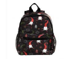 RuppertTextile Zaino piccolo per borsa da viaggio Duffel Fashion Sackpack per ragazze e ragazzi Cappello rosso carino Santa Claus Babbo Natale con cerniera sulla spalla