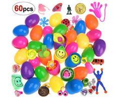 HOWAF 30pcs Colorate Uova di Pasqua Piene di Giocattoli Riempite, Ogni Uovo: 6x4cm, per Regalo di Pasqua Bambini Festa di Compleanno Gadget