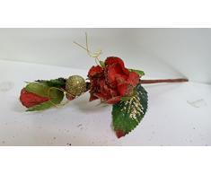 Set 12 pezzi fiore pick bocciolo con rosellina, x applicazione albero di NATALE, segnaposto tavolo, panettone. (amoN680) (ROSSO)