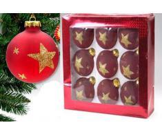 Idea Natale: set di 9 Palle - palline - di vetro rosse con stelle glitter oro per albero