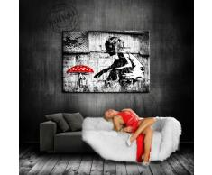 "'Fotoleinwand24 - Stampa su tela ""Banksy"" Graffiti 100 x 70 cm K. Poster. Tela già su telaio. Pop Art dipinto stampe artistiche da parete, immagini, immagini per decorazione - decorazione/immagini da parete Top 200 ""Bansky Streetart"