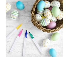 Weego 50 x Uova di Pasqua Decorate, Appendere Le Uova di Plastica con La Corda, Pittura di Artigianato Fai da Te di Pasqua per La Decorazione e Regalo, con 8 Pennelli