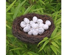 BESTOYARD Simulazione Stile Country Twig Nido d'uccello Handmade Pasqua Nido in Rattan Decorazione Creativa per Giardino di casa (15 cm)