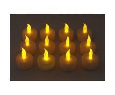 SODIAL(R) 12 candele tremolanti set funziona a batterie come una candela reale batteria operata senza fiamma candela te' luce di nozze