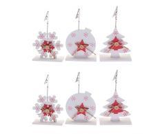 Vosarea 6 pezzi Segnaposto Natale Memo Clip Titolare Portafoto Supporto Numero Posto Memo Holder Decorazione Tavolo Natale Oggettistica Natalizia
