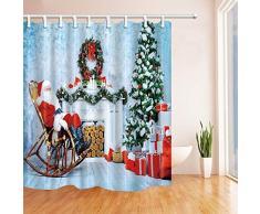 CDHBH Christmas tende da doccia per bagno Babbo Natale seduto su una sedia a dondolo beside Christmas Girfts poliestere tessuto impermeabile bagno tenda doccia ganci inclusi, 71 x,