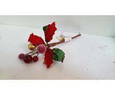 Set 18 pezzi fiore pick poinsetta velluto rosso, x applicazione albero di NATALE, segnaposto tavolo, panettone.