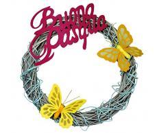 GHIRLANDA PASQUALE Fuoriporta Dietroporta in Legno intrecciato BUONA PASQUA con Farfalle decorazione addobbi casa per Pasqua