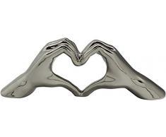 Gilde Scultura Moderna Figura Decorativa Hand Heart XL Realizzata in Ceramica Argento 45x15 cm