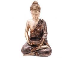 Puckator Bud260Â Statua Buddha thailandese Porta Candela Resina Marrone/Oro 11Â x 9Â x 19Â cm