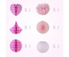 SUNBEAUTY Pom Pom Sfera Serie Rosa, Fiore di Carta e alveolari Ventole e Farol Appendere Le Decorazioni per la Festa Nuziale di Compleanno di Bambino di Pasqua