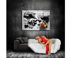 """""""Banksy"""" stampa su tela - 80 x 60 cm Quadro teren! N.{5211} Stampa già montata su telaio! Pop Art quadro Kunstdrucke, tele, immagini per decorazione - decorazione/Top """"Banksy{200}"""" Modern immagini"""