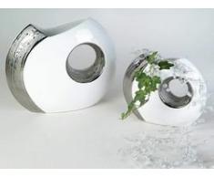 Vaso Decorativo Bianco Foro 24 Cm Ceramica Smaltata