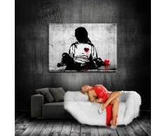 "'Banksy stampa su tela 80 x 60 cm K. Poster. N. 2055 tela già su telaio. Pop Art dipinto stampe artistiche da parete, immagini, immagini per decorazione – decorazione/Top 100 ""Banksy foto – Graffiti/Street Art stampe artistiche"