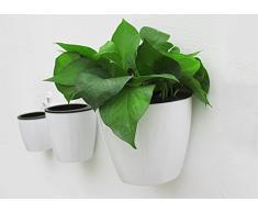 Milopon, vaso di fiori autoirrigante da appendere, irrigazione automatica, vaso di fiori, piante montate a parete con supporto e funzione di deposito dellacqua, bianco, 19*14.5*16cm