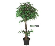 Fico Ficus Benjamin Pianta Albero Artificiale Plastica con Legno Naturale 160cm Decovego