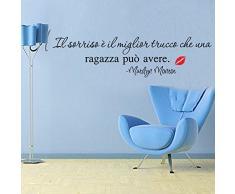 """LifeUp Disegn Originale- Adesivo Murale Frase Italiano """" Il sorriso è il miglior trucco che una ragazza può avere """" Adesivo da Pareti Muri per Soggiorno Camera da Letto"""