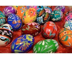 Set di uova di Pasqua in legno – dipinto a mano – decorazione – 60 x 45 mm – dimensioni dell'uovo di gallina – ideale per Pasqua (3)