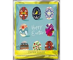 Paper House PECP0005 - Biglietti di auguri di Pasqua, motivo uova colorate