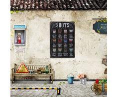 Vintage Poster Metallo Arredo Murale Per Pub Bar Cafe 20x30cm - Shots Menu