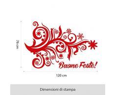 kina NT0376 Vetrofania Natalizia per vetrine Negozi - Decorazioni adesive per Natale 76x130 cm - Rosso