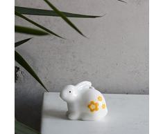 Figure coniglio seduto candela bianco giallo di Pasqua