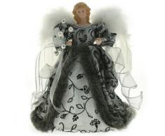 WeRChristmas - Angelo decorativo con ali, per addobbi/punta albero di natale, colore: argento