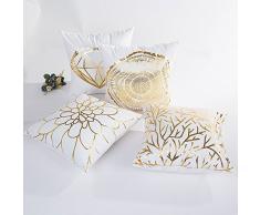 Kword Oro Foil Stampa Caso di Cuscino di Natale Divano Vita Cuscino Gettare Home Decor,Vintage Cuscino Caso,Cuscino per Auto (A+B+C+D)