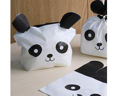 Queta 50PCS Cute Panda imballaggio Sacchetti di Caramelle per Matrimonio per Alimenti Biscotti Pasqua Bambini Festa Decorazioni Regali Pacchetto