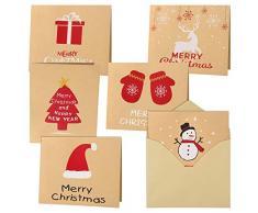 FEPITO 30Pz Buon Natale Biglietti dauguri Biglietti Kraft Biglietti di Auguri con Buste e Adesivi, 4,72 x 3,95 Pollici