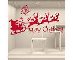 NT0092 Adesivi Murali - Slitta - Vetrofanie natalizie - 120x60 cm - rosso - Decorazioni vetrine per Natale, stickers, adesivi