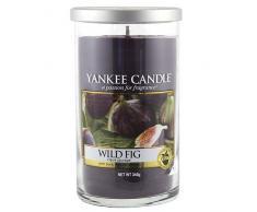 Yankee Candle Pillar Candele Décor Wild Fig, Vetro, Porpora, 8.3 x 8.3 x 13.9 cm