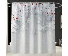 Wiouy, Set da Bagno con Stampa di Babbo Natale, Tenda da Doccia/Tappetino per WC, 3 Pezzi, Colore: Bianco
