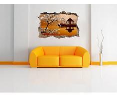 meravigliosa ciliegina sulla svolta con giapponese mare muro in look 3D, parete o in formato adesivo porta: 92x62cm, autoadesivi della parete, autoadesivo della parete, decorazione della parete