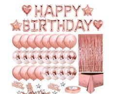 iZoeL Decorazioni Compleanno Rose Oro per Ragazzi Festone di compleanno Happy Birthday, 24 Coriandoli Palloncini, Tovaglia, Tenda a Frange, 10g Coriandoli Tavola Articoli per feste (Rosa)