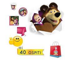 Kit festa compleanno Masha e Orso, 40 ospiti (40 piatti+ 40 bicchieri+ 40 tovaglioli+1 tovaglia plastica)