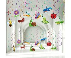 30 Pezzi Insetti Primavera Estate Appendere Decorazioni Ricciolo, Stelle Filanti a Soffitto in Lamina per Feste di Compleanno a Forma di Farfalla Girasole