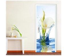 XIAOXINYUAN Adesivi per Porte 3D Fai-da-Te Adesivo Murale Impermeabile Rimovibile Lily Wall Stickers per La Camera da Letto Home Decor Natalizio