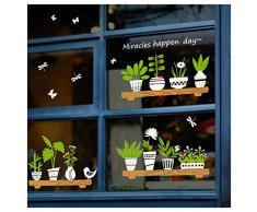 Adesivi bifacciali per finestre con piante verdi, decorazione da parete rimovibile fai da te autoadesiva per soggiorno, camera da letto, caffè, decorazione per porte in vetro (vaso)