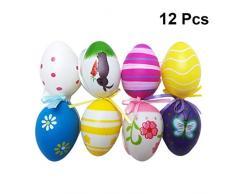 Amosfun Uova di Pasqua Colorate Uova di Pasqua Colorate Uova di Plastica Stampate Fai da Te Uova di Simulazione per La Decorazione di Pasqua 12 Pz