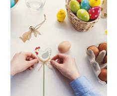 BESTOYARD 8Pcs Legno Coniglietto di Pasqua Ciondolo Fiore in Legno Forme Ornamenti Artigianali Regali Ritagli in Legno Decorazioni di Pasqua per i favori di Pasqua