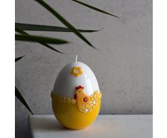 Decorazione candela uovo di Pasqua 140 X 100 mm Bianco Giallo