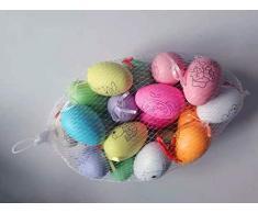Uova di Pasqua Decorate, 20 PCS (Ogni Uovo ha Un Motivo) Uova di Pasqua Colorate da Appendere, Pittura di Artigianato Fai da Te di Pasqua, Uova Pasquali con La Corda, Ideale per Pasqua