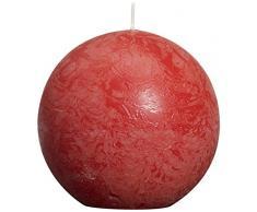 Rustic Candela Sfera, Cera di paraffina, Rosso, 8Â cm