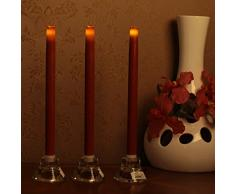 Cono candele affusolate candele a LED Candele luci con temporizzatore per Domenica giorno di Pasqua di casa della decorazione del partito di nozze San Valentino, batteria, 6 ore di temporizzatore, cera reale, 30,5 cm, rosso, 3 confezioni