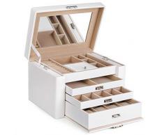 SONGMICS Portagioie Scatole a 4 Livelli per gioielli scatola custodia cofanetto, per Collane, Orologi, Anelli, Idea Regalo, Bianco JBC04W