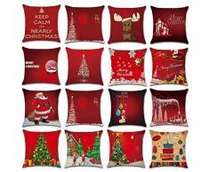federe Cuscini,Fittingran Regali di Natale Belle federe in Lino Stampato Cuscino Natale Grande Federa di Stampa di Colore Rosso (O)