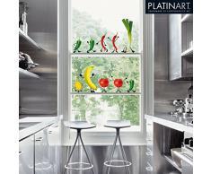 Eurographics WS-DT1033 - Adesivi riutilizzabili per finestre, motivo: verdure animate